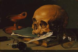 Still Life with A Skull and Writing Quill, Pieter Claesz 1628