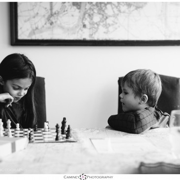 My daughter and her cousin having a very serious game of chess.